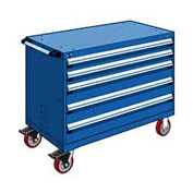 "Rousseau Metal 5 Drawer Heavy-Duty Mobile Modular Drawer Cabinet - 48""Wx27""Dx37-1/2""H Avalanche Blue"