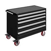 "Rousseau Metal 5 Drawer Heavy-Duty Mobile Modular Drawer Cabinet - 48""Wx27""Dx37-1/2""H Black"
