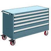 "Rousseau Metal 5 Drawer Heavy-Duty Mobile Modular Drawer Cabinet - 60""Wx24""Dx37-1/2""H Everest Blue"