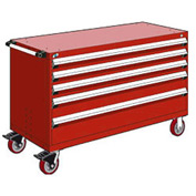 """Rousseau Metal 5 Drawer Heavy-Duty Mobile Modular Drawer Cabinet - 60""""Wx24""""Dx37-1/2""""H Red"""