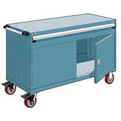 "Rousseau Metal 1 Drawer Heavy-Duty Mobile Modular Drawer Cabinet - 60""Wx24""Dx37-1/2""H Everest Blue"
