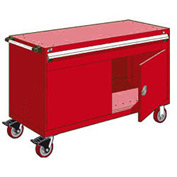 "Rousseau Metal 1 Drawer Heavy-Duty Mobile Modular Drawer Cabinet - 60""Wx24""Dx37-1/2""H Red"