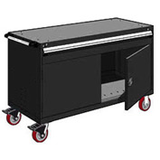 "Rousseau Metal 1 Drawer Heavy-Duty Mobile Modular Drawer Cabinet - 60""Wx24""Dx37-1/2""H Black"