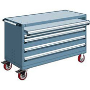 "Rousseau Metal 4 Drawer Heavy-Duty Mobile Modular Drawer Cabinet - 60""Wx24""Dx37-1/2""H Everest Blue"