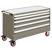 """Rousseau Metal 5 Drawer Heavy-Duty Mobile Modular Drawer Cabinet - 60""""Wx27""""Dx37-1/2""""H Light Gray"""