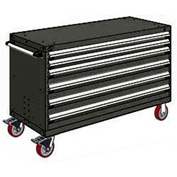 "Rousseau Metal 6 Drawer Heavy-Duty Mobile Modular Drawer Cabinet - 60""Wx27""Dx37-1/2""H Black"