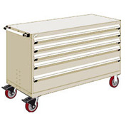 "Rousseau Metal 5 Drawer Heavy-Duty Mobile Modular Drawer Cabinet - 60""Wx27""Dx37-1/2""H Beige"