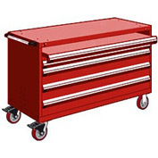 """Rousseau Metal 4 Drawer Heavy-Duty Mobile Modular Drawer Cabinet - 60""""Wx27""""Dx37-1/2""""H Red"""