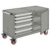 "Rousseau 5 Drawer Heavy-Duty Double Mobile Modular Drawer Cabinet - 48""Wx27""Dx37-1/2""H Light Gray"