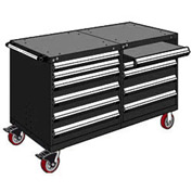 "Rousseau 10 Drawer Heavy-Duty Double Mobile Modular Drawer Cabinet - 48""Wx27""Dx37-1/2""H Black"