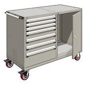 """Rousseau 7 Drawer Heavy-Duty Double Mobile Modular Drawer Cabinet - 48""""Wx27""""Dx45-1/2""""H Light Gray"""
