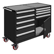 """Rousseau 9 Drawer Heavy-Duty Double Mobile Modular Drawer Cabinet - 48""""Wx27""""Dx45-1/2""""H Black"""