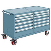 "Rousseau 12 Drawer Heavy-Duty Double Mobile Modular Drawer Cabinet - 60""Wx27""Dx37-1/2""H Everest Blue"