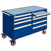"Rousseau 8 Drawer Heavy-Duty Double Mobile Modular Drawer Cabinet -60""Wx27""Dx37-1/2""H Avalanche Blue"