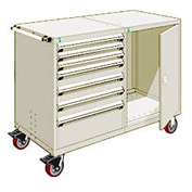 "Rousseau 7 Drawer Heavy-Duty Double Mobile Modular Drawer Cabinet - 60""Wx27""Dx45-1/2""H Beige"