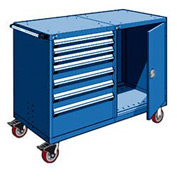 "Rousseau 7 Drawer Heavy-Duty Double Mobile Modular Drawer Cabinet -60""Wx27""Dx45-1/2""H Avalanche Blue"