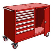 """Rousseau 7 Drawer Heavy-Duty Double Mobile Modular Drawer Cabinet - 60""""Wx27""""Dx45-1/2""""H Red"""
