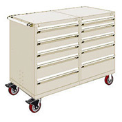 """Rousseau 10 Drawer Heavy-Duty Double Mobile Modular Drawer Cabinet - 60""""Wx27""""Dx45-1/2""""H Beige"""