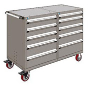"Rousseau 10 Drawer Heavy-Duty Double Mobile Modular Drawer Cabinet - 60""Wx27""Dx45-1/2""H Light Gray"