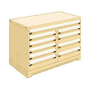 "Rousseau Metal 10 Drawer Bench High 48""W Multi-Drawer Cabinet - Beige"