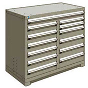 """Rousseau Metal 13 Drawer Counter High 48""""W Multi-Drawer Cabinet - Light Gray"""