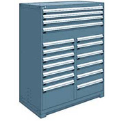 "Rousseau Metal 17 Drawer Full Height 48""W Multi-Drawer Cabinet - Everest Blue"