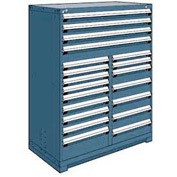 "Rousseau Metal 20 Drawer Full Height 48""W Multi-Drawer Cabinet - Everest Blue"