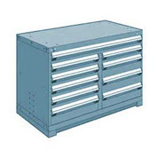 "Rousseau Metal 10 Drawer Bench High 48""W Multi-Drawer Cabinet - Everest Blue"