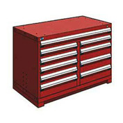 "Rousseau Metal 10 Drawer Bench High 48""W Multi-Drawer Cabinet - Red"