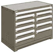 "Rousseau Metal 10 Drawer Counter High 48""W Multi-Drawer Cabinet - Light Gray"