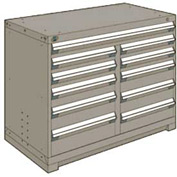 "Rousseau Metal 11 Drawer Counter High 48""W Multi-Drawer Cabinet - Light Gray"