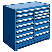 """Rousseau Metal 13 Drawer Counter High 48""""W Multi-Drawer Cabinet - Avalanche Blue"""