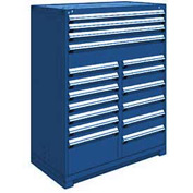 "Rousseau Metal 17 Drawer Full Height 48""W Multi-Drawer Cabinet - Avalanche Blue"