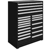 "Rousseau Metal 20 Drawer Full Height 48""W Multi-Drawer Cabinet - Black"