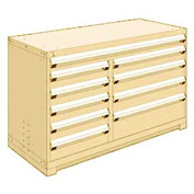 "Rousseau Metal 10 Drawer Counter High 60""W Multi-Drawer Cabinet - Beige"
