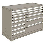 """Rousseau Metal 12 Drawer Counter High 60""""W Multi-Drawer Cabinet - Light Gray"""