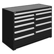 "Rousseau Metal 10 Drawer Counter High 60""W Multi-Drawer Cabinet - Black"