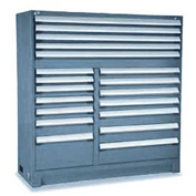 "Rousseau Metal 19 Drawer Full Height 60""W Multi-Drawer Cabinet - Everest Blue"