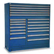 "Rousseau Metal 19 Drawer Full Height 60""W Multi-Drawer Cabinet - Avalanche Blue"
