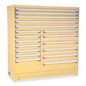 "Rousseau Metal 18 Drawer Full Height 60""W Multi-Drawer Cabinet - Beige"