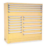 "Rousseau Metal 17 Drawer Full Height 60""W Multi-Drawer Cabinet - Beige"