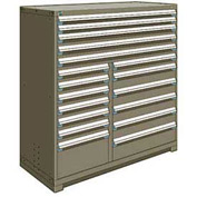 "Rousseau Metal 18 Drawer Full Height 60""W Multi-Drawer Cabinet - Light Gray"