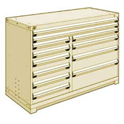 "Rousseau Metal 12 Drawer Counter High 60""W Multi-Drawer Cabinet - Beige"