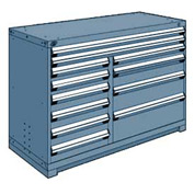 "Rousseau Metal 12 Drawer Counter High 60""W Multi-Drawer Cabinet - Everest Blue"