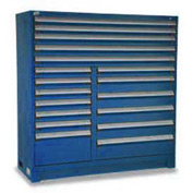 "Rousseau Metal 18 Drawer Full Height 60""W Multi-Drawer Cabinet - Avalanche Blue"