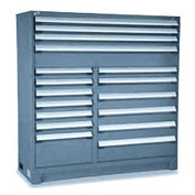 "Rousseau Metal 17 Drawer Full Height 60""W Multi-Drawer Cabinet - Everest Blue"
