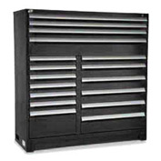 "Rousseau Metal 17 Drawer Full Height 60""W Multi-Drawer Cabinet - Black"