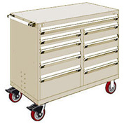 "Rousseau Metal 9 Drawer Mobile Multi-Drawer Cabinet - 48""Wx24""Dx41-1/2""H Beige"
