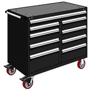 "Rousseau Metal 9 Drawer Mobile Multi-Drawer Cabinet - 48""Wx24""Dx41-1/2""H Black"