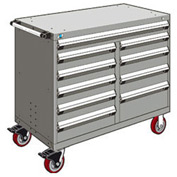 "Rousseau Metal 10 Drawer Mobile Multi-Drawer Cabinet - 48""Wx24""Dx41-1/2""H Light Gray"